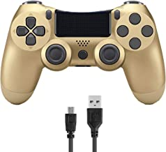 Donop Wireless Controller for PS4, Game Remote Joystick Compatible with Playstation 4 Slim Pro Console(Gold)