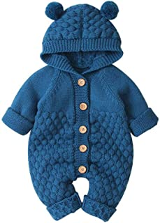 Xinantime Newborn Infant Baby Girl Boy Winter Jacket Warm Coat Knit Outwear Hooded Sweater 3M-2Y