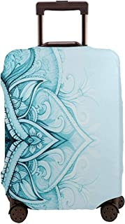 Travel Luggage Cover,Traditional Ethnic Ornamental Lace Border With Swirled Flower Lines Eastern Folk Artwork Suitcase Protector