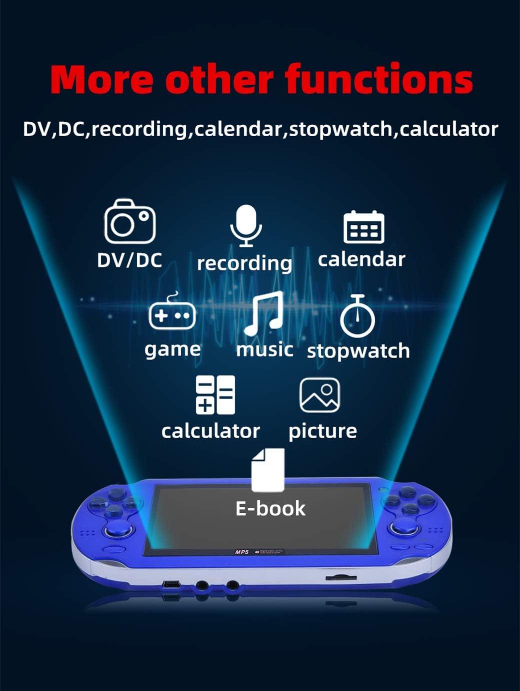 Bleu HLF 4,3 Pouces Console de Jeu Portable MP4 /à Double Joystick prenant en Charge la Sauvegarde// Charge instantan/ée dans larcade cp1//cp2//neogeo//gba//gbc//gb//fc//sfc//md Enregistrement de cam/éra