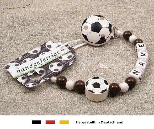 kleinerStorch Baby SCHNULLERKETTE mit Namen - Motiv Fussball in Vereinsfarben - braun, weiß