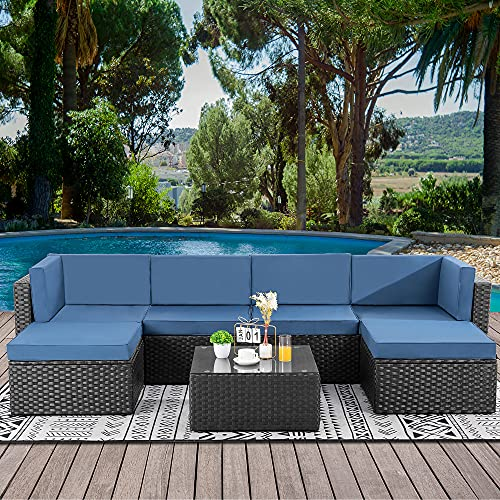 Walsunny 7pcs Patio Outdoor Furniture Sets,Low Back All-Weather Rattan Sectional Sofa with Tea Table&Washable Couch Cushions&Ottoman (Aegean Blue)