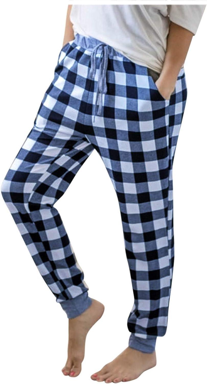 Forver Womens Baggy Wide Leg Pants Plaid Printed Christmas Pants Casual Pants Pajama Pants Casual Trousers with Pockets