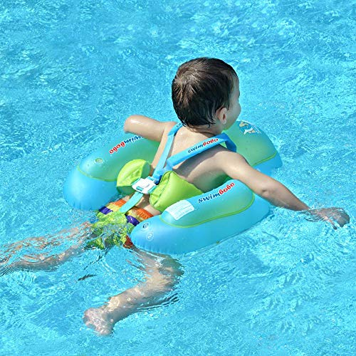 Swimbobo [New Upgraded] Baby Swimming Float Kids Inflatable Swim Ring with Safety Support Bottom Swimming Pool Accessories for 3-36 Months (Blue, S)