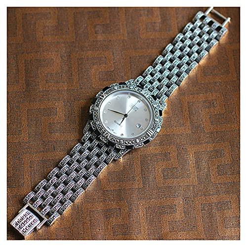CHXISHOP Relojes para Hombres 925 Sterling Silver Vintage Reloj de Negocios Pulsera de Cuarzo de Negocios Reloj de Cuarzo Informal White- 22.5cm