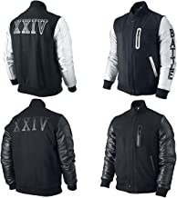 Mens Battle Destroyer Kobe XXIV Varsity Letterman Wool Leather Bomber Jacket