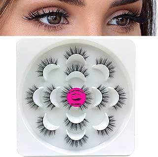 DAODER Short Mink Lashes Strip Natural Falses Eyelashes 5D Faux Mink Cross Reusable Wispy Full Fake Eyelashes for All Eyes Makeup 7 Packs