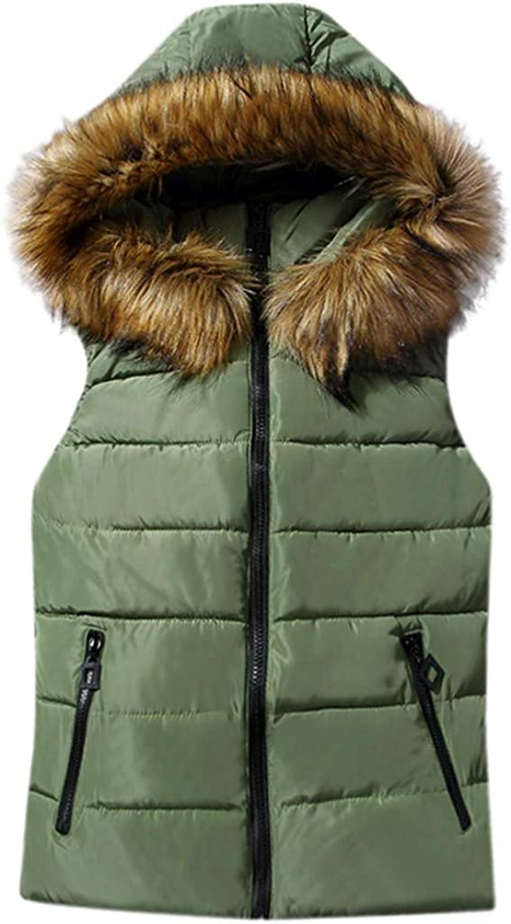 Women's Winter Quilted Hooded Vest Jacket Slim Plus-Size Sleeveless Outwear Casual Thicken Puffer Vest Coat