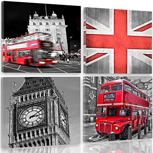 Feeby Frames, canvasfoto, afbeeldingen, wandafbeelding - 4 delen - wandafbeeldingen, kunstdruk 80x80 cm, Londen, Big Ben, architectuur, bus, vlag, rood