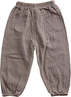 Quần dành cho bé trai – Unisex Boys Girls Fall/Autumn Elastic Trousers Linen Lantern Pants Harem Pants Age 1-5 Years