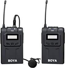 Wireless Lavalier Microphone System, BOYA BY-UM48C UHF Professional Omni-Directional 48-Frequency with Interview Mic by-UM2 for Canon Nikon DSLR Camera Sony Panasonic Camcorders Facebook Livestream