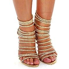 547b8da9f azmodo Woman High Stiletto Heel Dress Gladiator Peep Toe Sand .