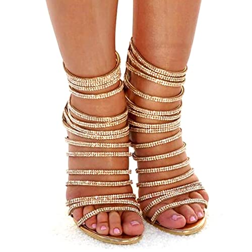 4425746527ed azmodo Woman High Stiletto Heel Dress Gladiator Peep Toe Sandals Gold