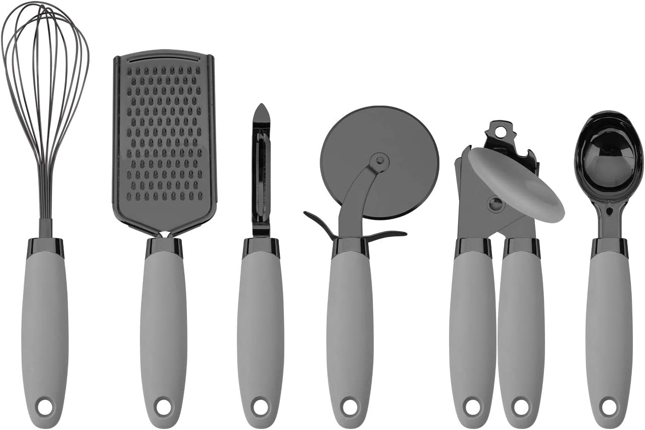 Country Kitchen 6 Pc Essentials Kitchen Stainless Steel Gadget Set Black Gun Metal with Soft Touch Handles for Cooking