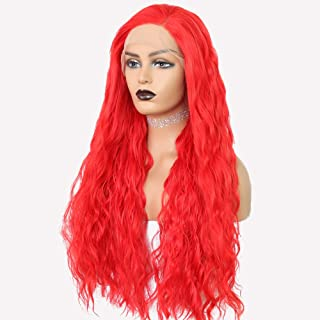 Wennisi Synthetic Wig for Women Long Natural Wavy Red Lace Front Wigs Heat Resistant Hair With Natural Hairline