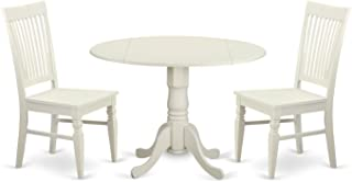 East West Furniture 3 Piece Kitchen Table and 2 Dining Room Chairs Set for 2 People