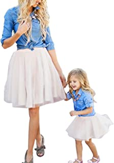 2Pcs Mommy and Me Long Sleeve Denim Button Down T-Shirt Tops Tutu Dresses Family Matching Outfits Set