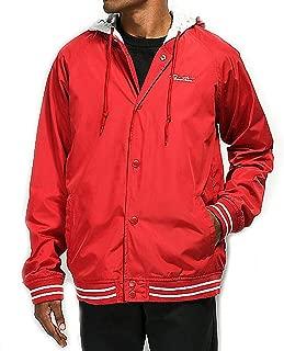 Primitive Skate Men's Lightweight Two-fer Varsity Hooded Long Sleeve Jacket Red
