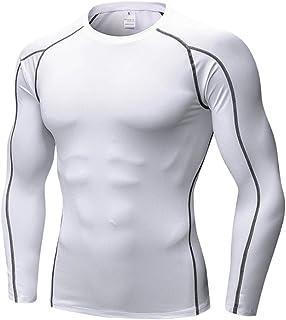 Zhhlinyuan メンズ?フィットネス?スポーツを通すロングスリーブシャツ 弾性ベース層のクイックドライタイトシャツ for Training and Daily Casual