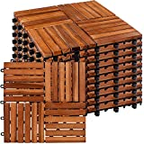 STILISTA® 1m² oder 3m² Holzfliesen aus Akazienholz Mosaik 4x4 11 Stück oder 33 Stück 30x30 cm Fliese Balkonfliesen Terrassenfliesen Gartenfliesen für Garten Terrasse Balkon