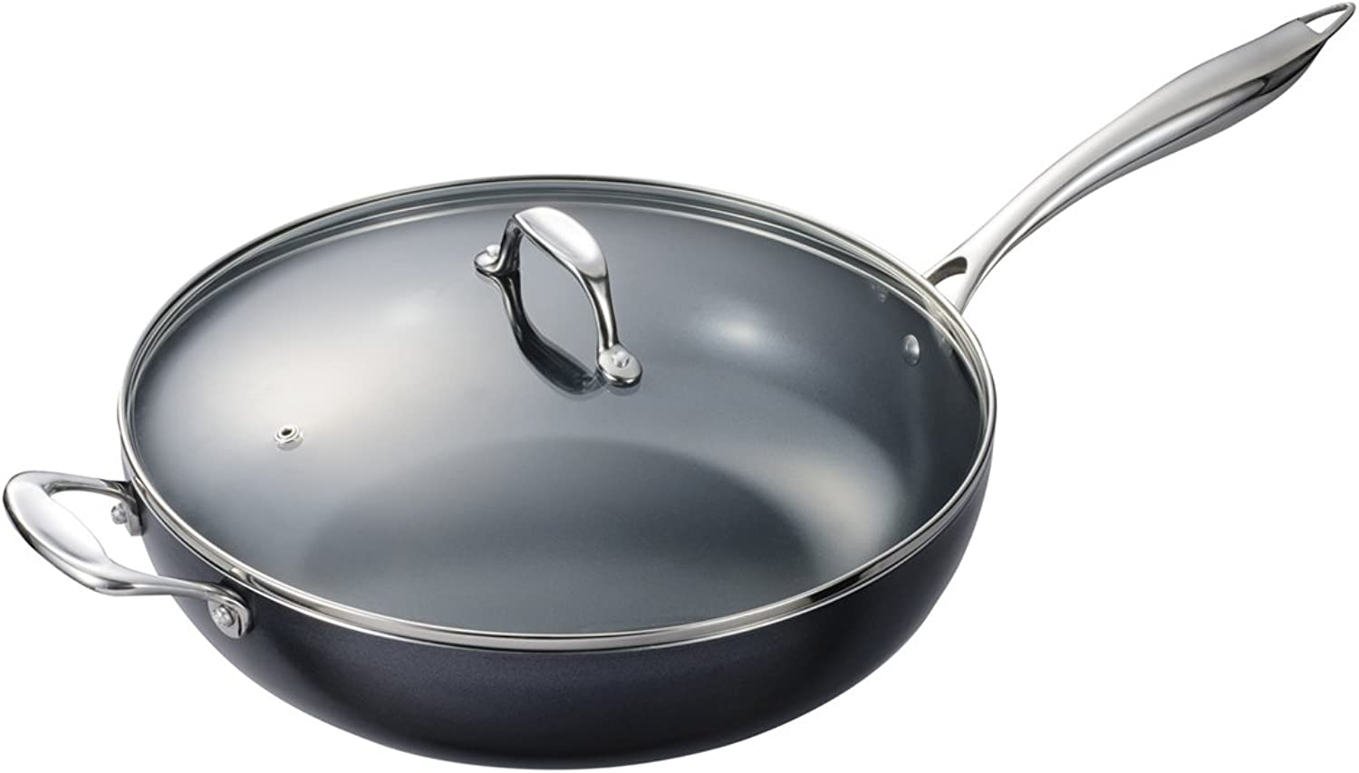Kyocera CFP32W BK Ceramic Coated Nonstick 12.5- inch Wok with Tempered Glass Lid