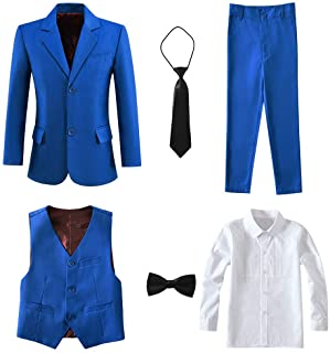 Yanlu Boy's Tuxedos Toddler Formal Suits Set Kids Blue Black Slim Fit Suit for Weddings