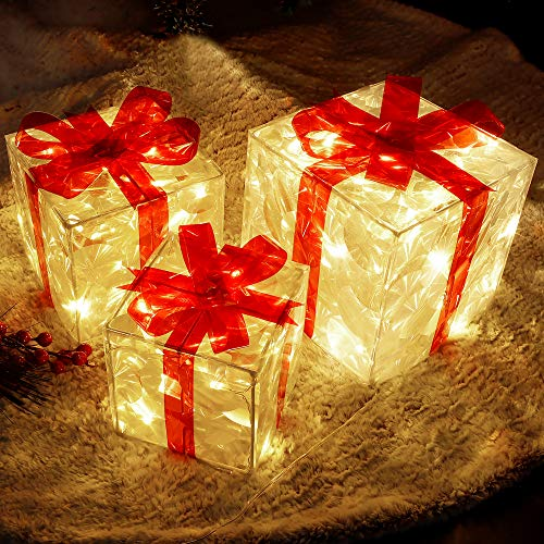 Lulu Home Christmas Lighted Boxes, Set of 3 60 LED Light Up Deocr Outdoir, Ligtdoorp CARDISTMAS Boxes Present Decorations Outdoor Yard