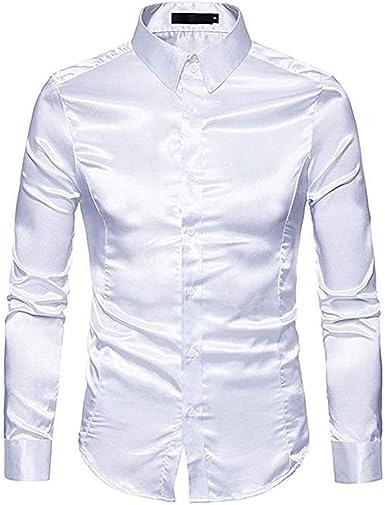 Camisa de satén brillante para hombre, manga larga con ...
