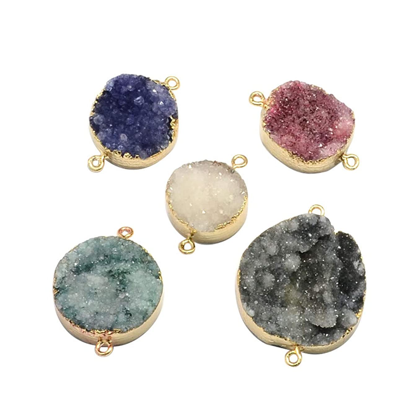 ARRICRAFT 5pcs Plated Natural Druzy Agate Links Necklace Pendants Gemstone Charms Connector for Necklace Bracelet Jewelry Making