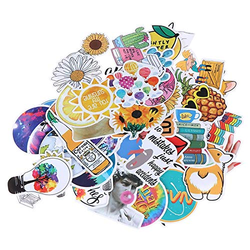 New 53 Pcs Fashion Rural Summer Light Yellow Girls PVC Stickers Decor for Laptop Pad Phone Trunk Guitar Bicycle Motor