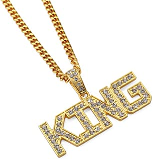 MCSAYS Man's Fashion Accessories 18K Gold Plated Hip Hop King Queen Pendant Necklace Jewelry Gifts