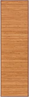 Alfombra pasillera Oriental marrón de bambú de 60 x 200 cm
