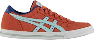 Official Brand Asics Aaron Canvas Trainers Junior Boys Chilli/Crystal Blue Sneakers Footwear