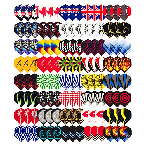 Wolftop Standard Dart Flights 40 Sets 120 Pcs - Durable Replacement Feather Tail Wings - Dart Accessories Kit for Steel Tip Darts and Soft Tip Darts