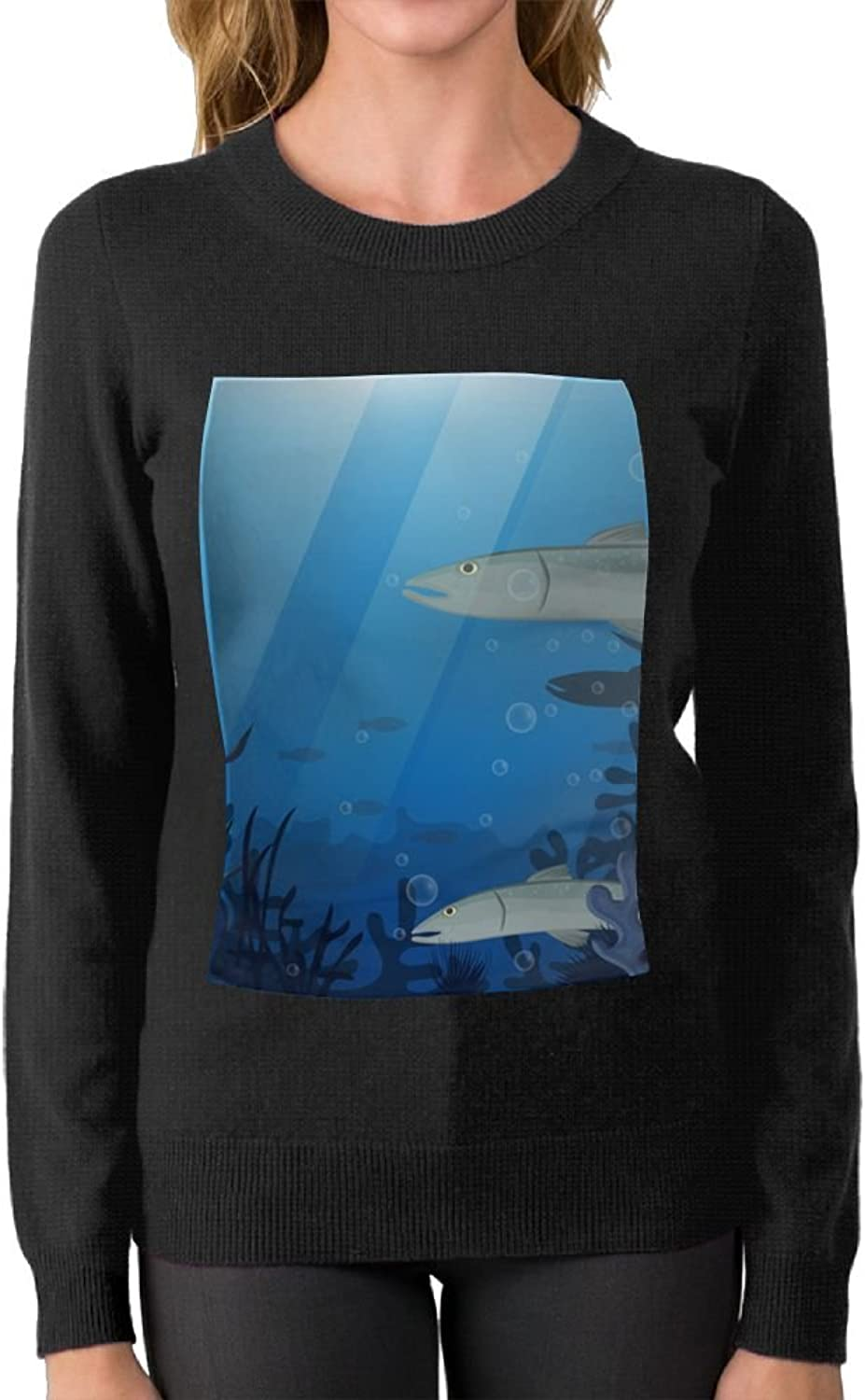 Attractive Women Barracuda Fish Together In Deep Water Cotton Sweater Best Cheap\r\n Warm Crew Neck