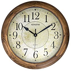 Adalene Wall Clocks Large Decorative for Living Room - 14 Inch Analog Quartz Wood Wall Clocks Battery Operated Decorative - Vintage Round Beige Dial Modern Wood Wall Clock