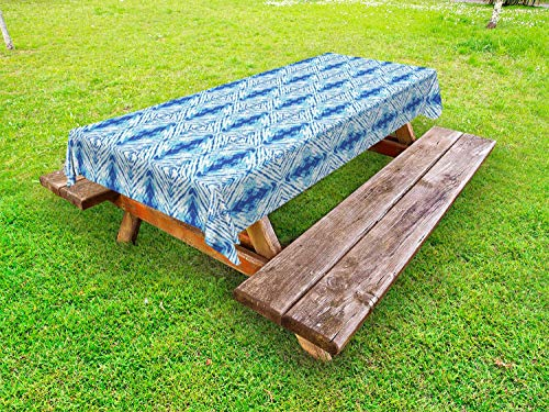 ABAKUHAUS Psychedelic Tafelkleed voor Buitengebruik, Grunge Hip VolksOntwerp, Decoratief Wasbaar Tafelkleed voor Picknicktafel, 58 x 120 cm, Pale Blue en Royal Blue