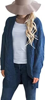 Omoone Women's Button Down Chunky Cable Twist Knit Cardigan Sweater with Pockets