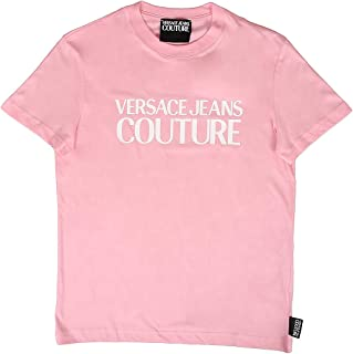 Versace Jeans Couture Light Pink 100% Cotton Oversized Logo Short Sleeve T-Shirt- for Mens