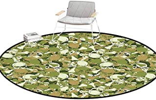 Desk Chair mat for Carpet Camo Sketchy Skulls and Crossbones Warning Sign Spooky Scary Horror Tile Light Brown Green Light Green Outdoor Rugs Round 4'Diameter