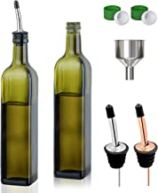 Olive Oil Dispenser Bottle - 2 Pack of 17oz Glass Olive Oil Bottles with Easy Pour Spout Set - Oil and Vinegar Cruet Set with Food Grade Funnel Drip-Free Olive Oil Carafe Decanter for Kitchen