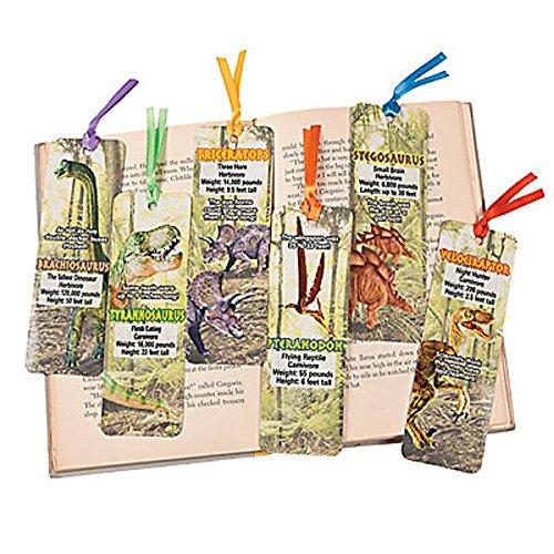 48 segnalibri a forma di dinosauro, 5 x 15 cm, in cartoncino laminato con nastro di raso