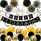 SAVITA 34 Piezas Decoraciones para Fiestas de Jubilación - Pancarta de Jubilación Feliz, Globos de Látex, Cinta Espiral, Bola de Flores de Papel Pom Pom para Suministros para la Fiesta de Jubilación