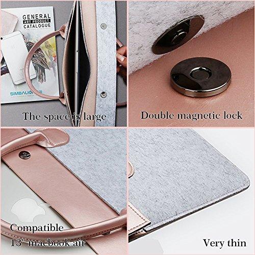 GENORTH® 13,3 Zoll MacBook Air/Pro Retina/12,9 Zoll iPad Pro Tasche für Laptop mit Surface Pro 4/3,Mikrofaser PU mit Filz Doppel Magnet Lock (13-13.3 Zoll, Rose Gold)