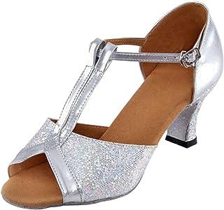 XFentech T-Strap Sequins Women's Tango Latin Dance Shoes Peep-Toe Mid Heel Pump