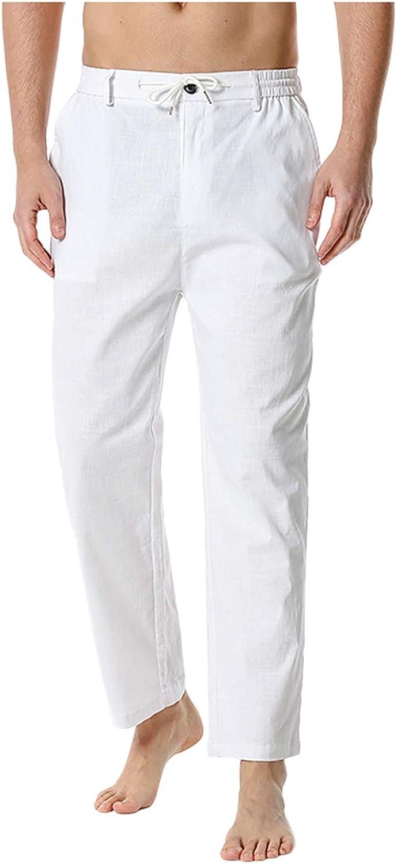 Jieson Detroit Mall Our shop OFFers the best service Cotton Linen Pants for Men E Loose Casual Fit Lightweight