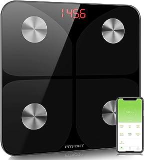 FITFORT Körperfettwaage Wireless Waage, Intelligente Digitale Personenwaage mit App, Smart Digitale Waage mit Körperfett, BMI, Gewicht,Muskelmasse, Wasser, Protein, BMR,Schwarz