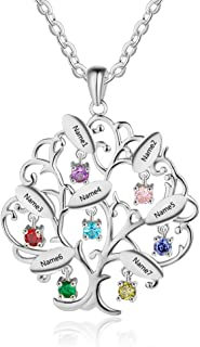 OPALSTOCK Personalized Tree of Life Mother Necklaces for Women with 7 Simulated Birthstones Custom Name Necklaces Family Necklaces Pendant for Mom Grandmother