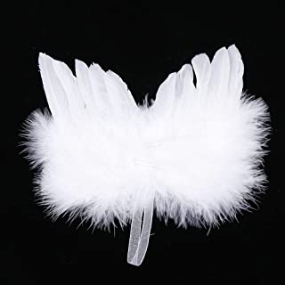 UTENEW Angel Feather Wings for Crafts 5 Pack White Mini Angel Wings, DIY Party Gift Decoration