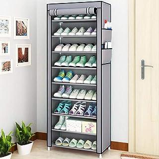 XWZH Cabinet de Chaussures Anti-poussière Armoire de Rangement à Chaussures à 10 Niveaux Organisateur avec Cadre en métal,...